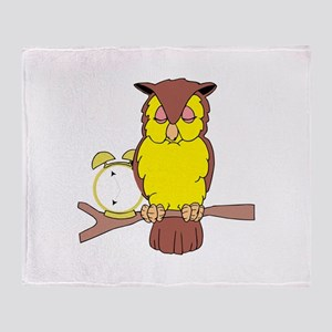 Owl with Alarm Clock Throw Blanket