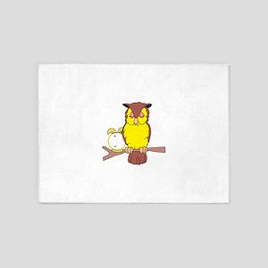 Owl with Alarm Clock 5'x7'Area Rug