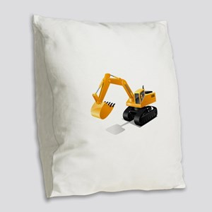 Excavator Burlap Throw Pillow