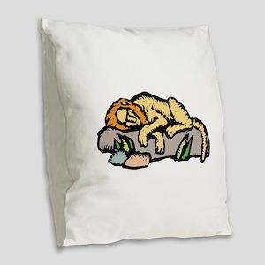 Sleeping Lion Burlap Throw Pillow