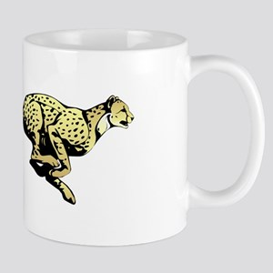 Yellow Cheetah with black dots Mugs