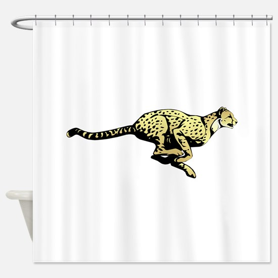 Yellow Cheetah with black dots Shower Curtain