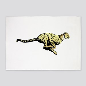 Yellow Cheetah with black dots 5'x7'Area Rug