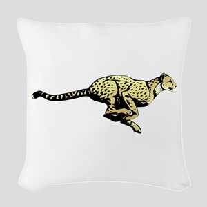 Yellow Cheetah with black dots Woven Throw Pillow