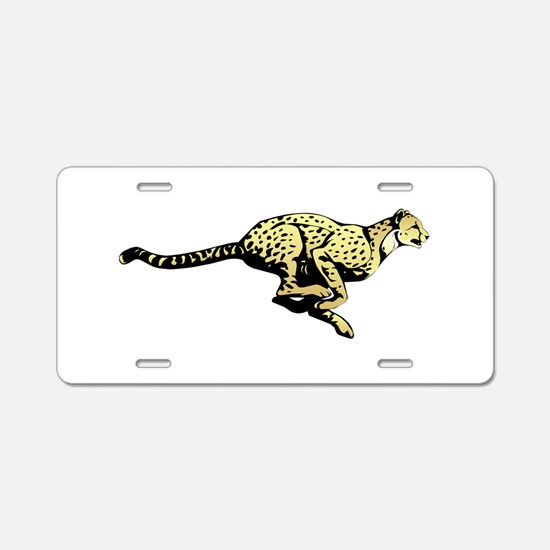 Yellow Cheetah with black d Aluminum License Plate