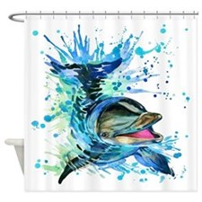 Watercolor Dolphin Shower Curtain