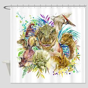 Dinosaur Collage Shower Curtain