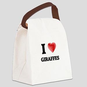 I love Giraffes Canvas Lunch Bag