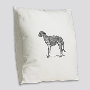 Deerhound Burlap Throw Pillow