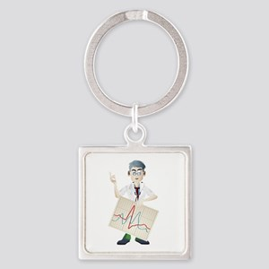 Doctor with ECG cartoon Keychains