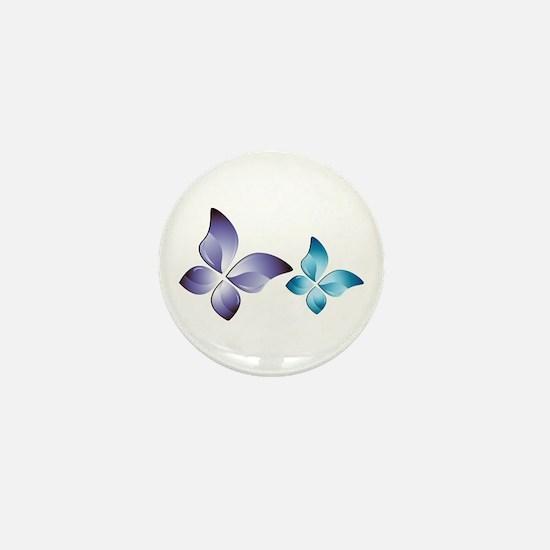 Blue green glow butterfly Mini Button