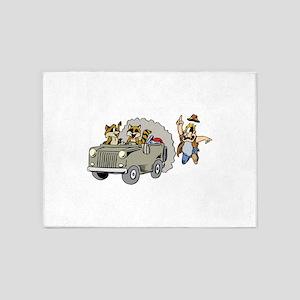 Raccoons Stealing Car 5'x7'Area Rug