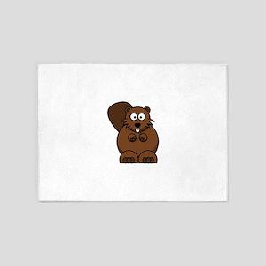 Cartoon Beaver 5'x7'Area Rug