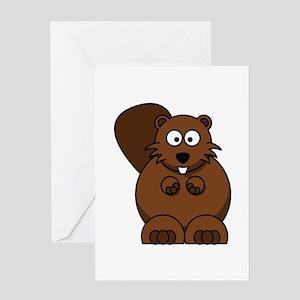 Cartoon Beaver Greeting Cards