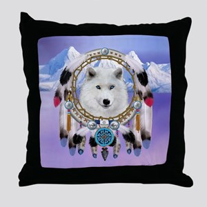 Native American Wolf Spirit Throw Pillow