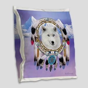 Native American Wolf Spirit Burlap Throw Pillow