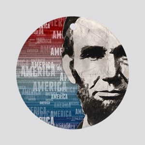 Patriot Abraham Lincoln Round Ornament