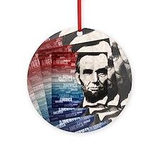 Patriot Abraham Lincoln Round Ornament