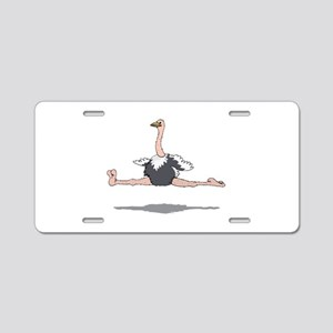 Ostrich Leaping Aluminum License Plate
