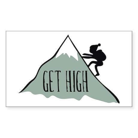 Get High: Mountain Climbing Rectangle Sticker