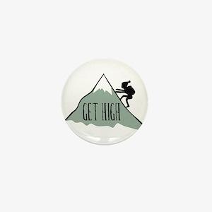 Get High: Mountain Climbing Mini Button