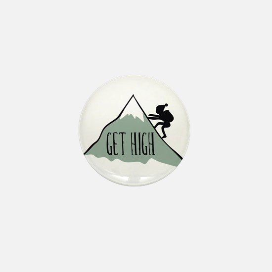 Get High: Mountain Climbing Mini Button
