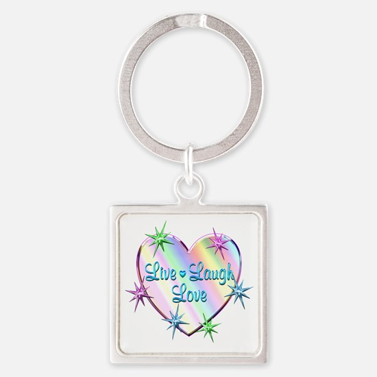 Live Laugh Love Heart Square Keychain