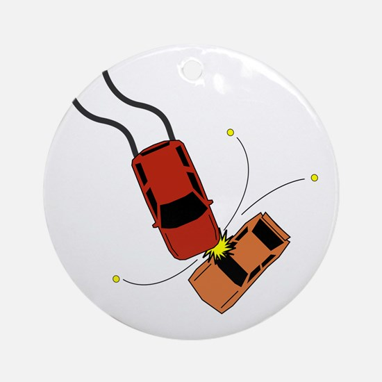 Car Accident Round Ornament