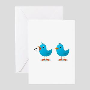 Twitter bird mascot Greeting Cards