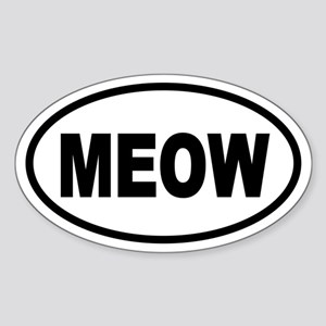 Cat MEOW Oval Sticker