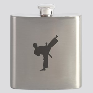 Karate man lifted leg in air Flask