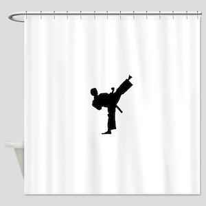 Karate man lifted leg in air Shower Curtain