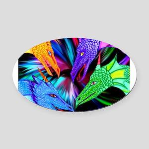 dragon heads Oval Car Magnet
