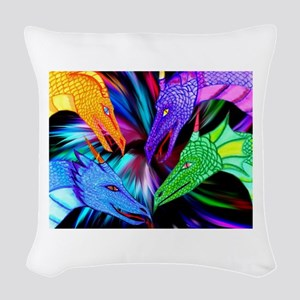 dragon heads Woven Throw Pillow