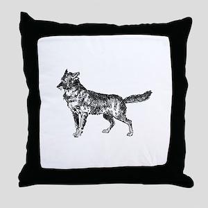 Jackal silhouette Throw Pillow