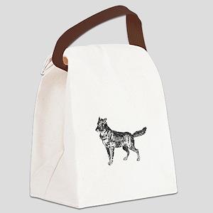 Jackal silhouette Canvas Lunch Bag