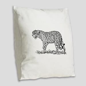 Jaguar silhouette Burlap Throw Pillow
