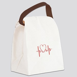 Heartbeat of Love ECG Wave Canvas Lunch Bag