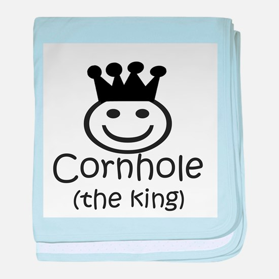 cornhole smiley the king.png baby blanket