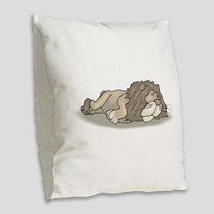 Lion Sleeping Burlap Throw Pillow