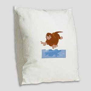 Platypus Diving Burlap Throw Pillow
