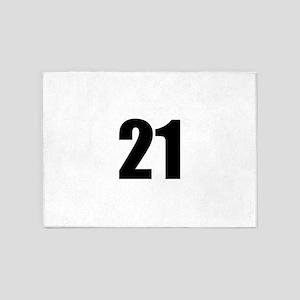 Number 21 5'x7'Area Rug