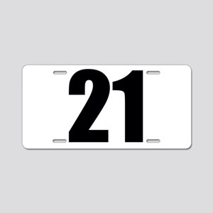 Number 21 Aluminum License Plate