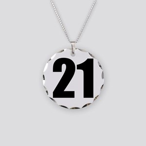 Number 21 Necklace Circle Charm