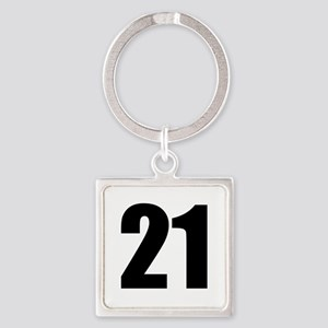 Number 21 Square Keychain