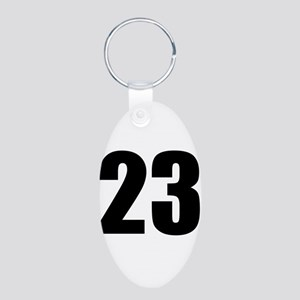 Number 23 Aluminum Oval Keychain