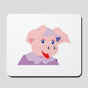 Pig Smiling with costume Mousepad