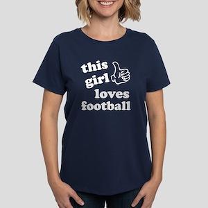 This girl loves football Women's Dark T-Shirt