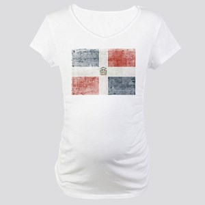 Dominican Republic Distressed Fl Maternity T-Shirt