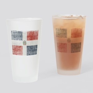 Dominican Republic Distressed Flag Drinking Glass